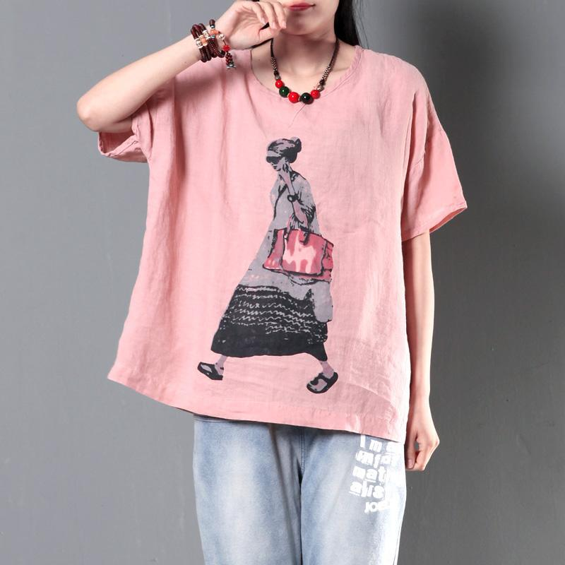 Pink shirt linen top women plus size short blouse city girl print