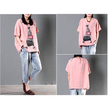 Laden Sie das Bild in den Galerie-Viewer, Pink shirt linen top women plus size short blouse city girl print