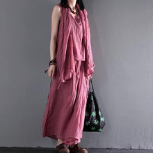 Laden Sie das Bild in den Galerie-Viewer, Pink summer linen clothing tops and skirt pants linen set three pieces