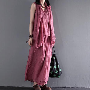 Pink summer linen clothing tops and skirt pants linen set three pieces
