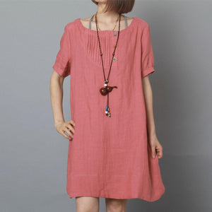 Pink summer linen dress oversize sundress plus size shift dress