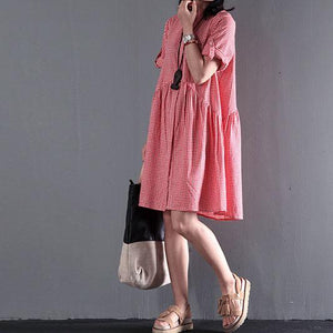 Pink summer plus size dresses short sleeve shift dress casual style