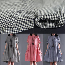 Load image into Gallery viewer, Pink summer plus size dresses short sleeve shift dress casual style
