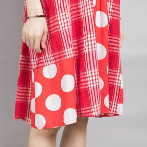 Plaid Spliced Dot Comfortable Cotton Dress
