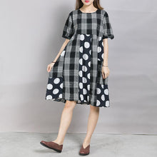 Load image into Gallery viewer, Plaid Spliced Dot Comfortable Cotton Dress