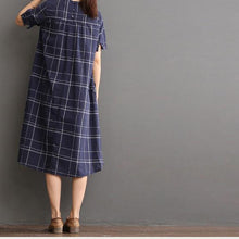 Load image into Gallery viewer, Plaid blue cotton dress for summer