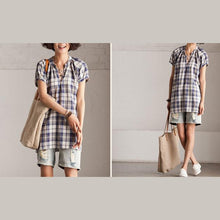 Load image into Gallery viewer, Plaid cotton dress linen sundress in blue