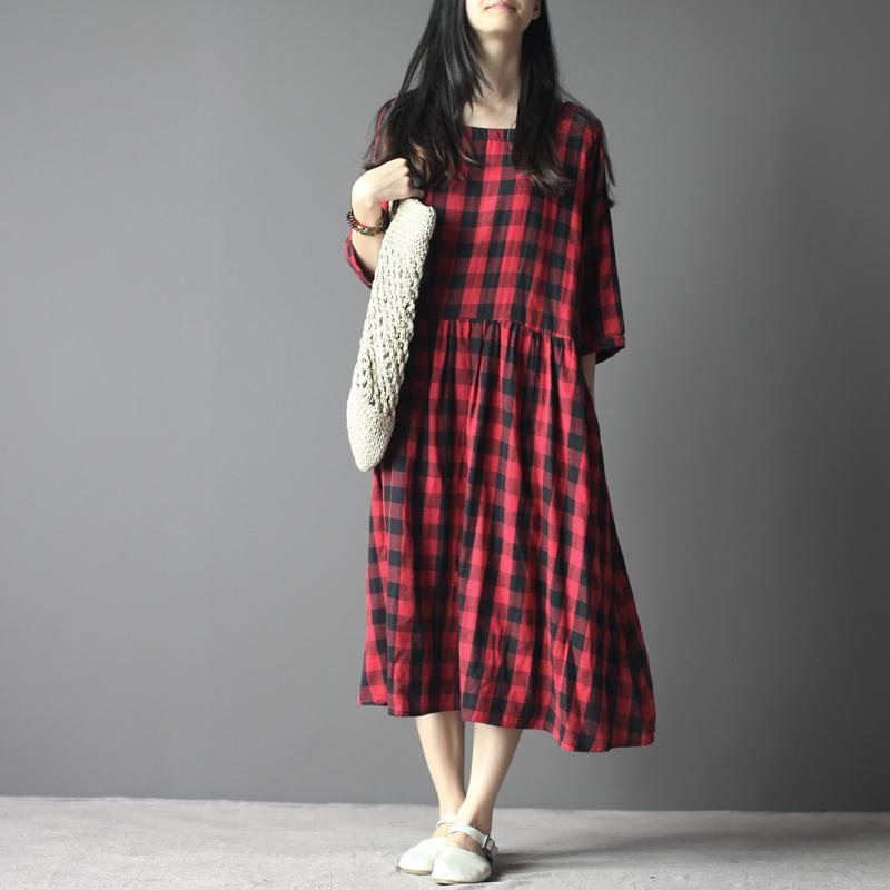 Plaid maxi dress cotton sundress linen three quarter sleeves in red and black