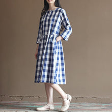 Load image into Gallery viewer, Plaid navy cotton dress drawstring waist plus size long maxi dresses