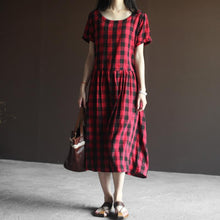 Load image into Gallery viewer, Plaid summer maxi dress linen Retro dresses in red and black