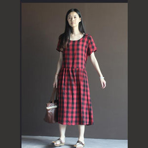 Plaid summer maxi dress linen Retro dresses in red and black