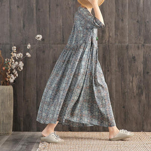 Plain Print Adjustable Waist Casual Dress