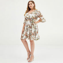 Laden Sie das Bild in den Galerie-Viewer, Plus Size Colorful Bamboo Printed Jacquard Chiffon Dress