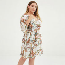 Load image into Gallery viewer, Plus Size Colorful Bamboo Printed Jacquard Chiffon Dress