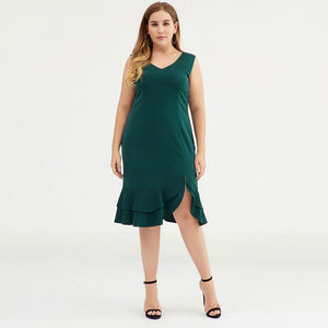 Plus Size Fashion Solid V-Neck Sleeveless Women Dress