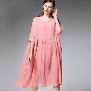 Plus Size Female Pleated Solid Color Midi Dress
