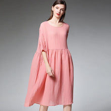 Load image into Gallery viewer, Plus Size Female Pleated Solid Color Midi Dress