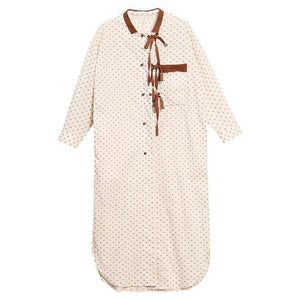 Plus Size Lacing Dot Double Breasted Shirt Dress