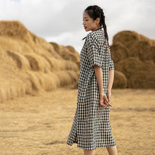 Load image into Gallery viewer, Plus Size Plaid Patchwork Casual Dress