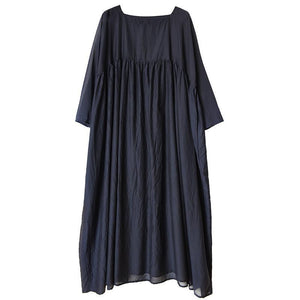 Plus Size Soft Comfortable Pleated Navy Blue Dress