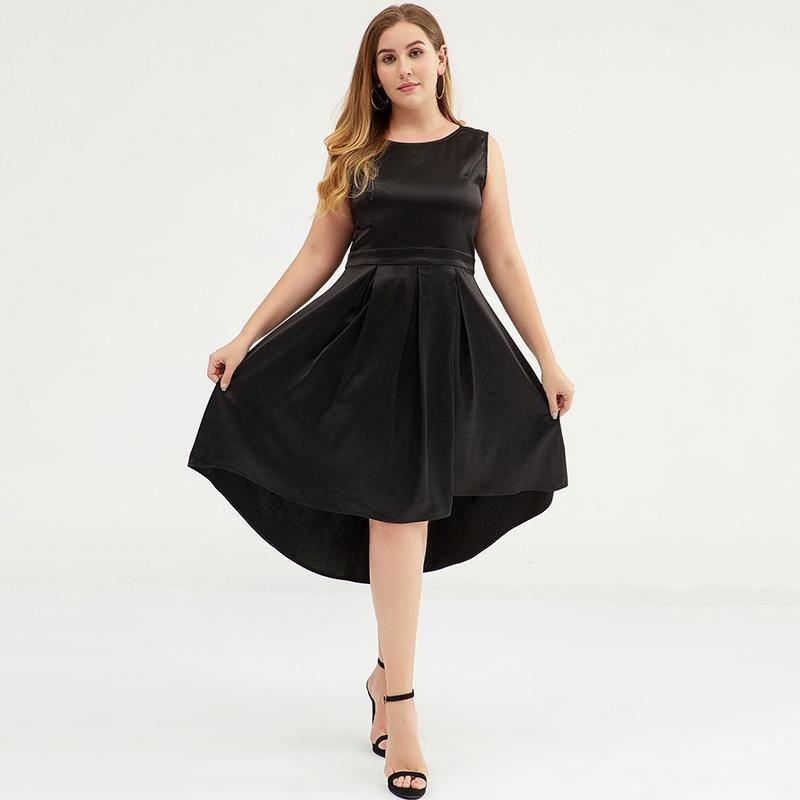 Plus Size Solid Color Slim Sleeveless Formal Dress