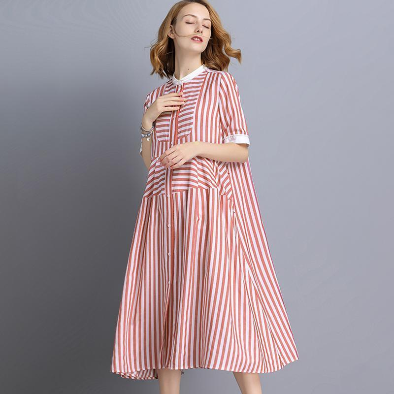 Plus Size Stripe Tencel Short Sleeve Shirt Dress