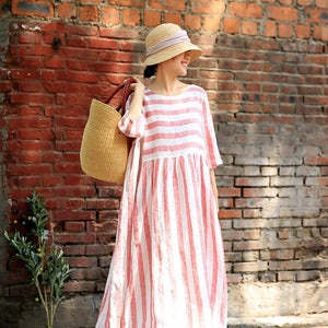 Plus Size Stripes Spliced Round Collar Dress