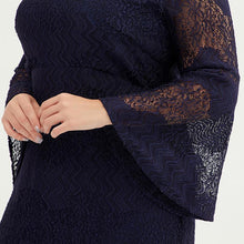 Load image into Gallery viewer, Plus Size Women Bell Sleeve Lace Sheath Dress