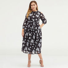 Load image into Gallery viewer, Plus Size Women Cold Shoulder Floral Chiffon Maxi Dress