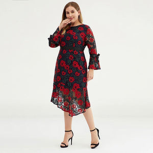 Plus Size Women Floral Bell-sleeve Evening Party Dress
