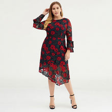 Load image into Gallery viewer, Plus Size Women Floral Bell-sleeve Evening Party Dress