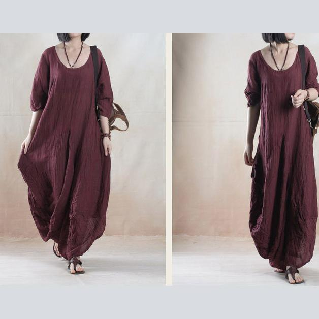 Plus size brown summer maxi dress linen sundress