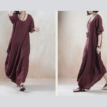 Load image into Gallery viewer, Plus size brown summer maxi dress linen sundress