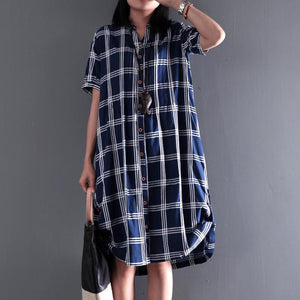 Plus size cotton sundress plaid summer shift dresses long blouse short sleeve
