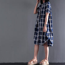 Load image into Gallery viewer, Plus size cotton sundress plaid summer shift dresses long blouse short sleeve