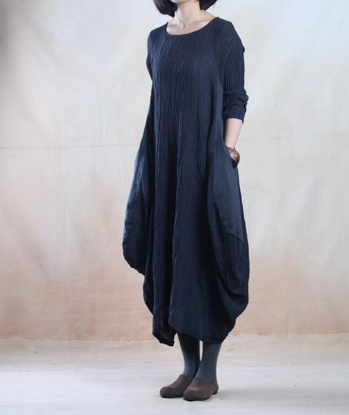 Plus size dark blue linen maxi dress spring holiday traveling dress