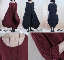 Load image into Gallery viewer, Plus size dark blue linen maxi dress spring holiday traveling dress