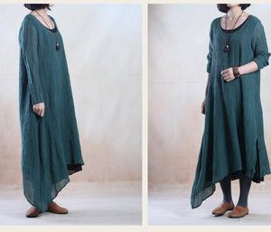 Plus size dark green long linen dress causal holiday spring dresses