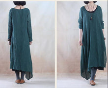Load image into Gallery viewer, Plus size dark green long linen dress causal holiday spring dresses