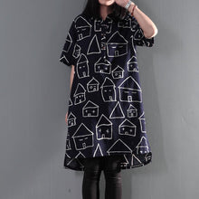 Load image into Gallery viewer, Plus size navy print summer dress oversize shift dresses sundress sweet house