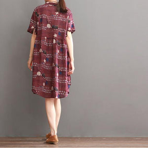 Plus size print summer dress loose fit shift dresses burgundy