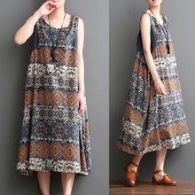 Load image into Gallery viewer, Plus size summer linen dress floral print sleeveless sundress maxi dresses