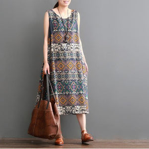 Plus size summer linen dress floral print sleeveless sundress maxi dresses
