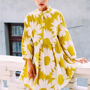 Plus size sweet yellow daisy print spring dress linen shift dress