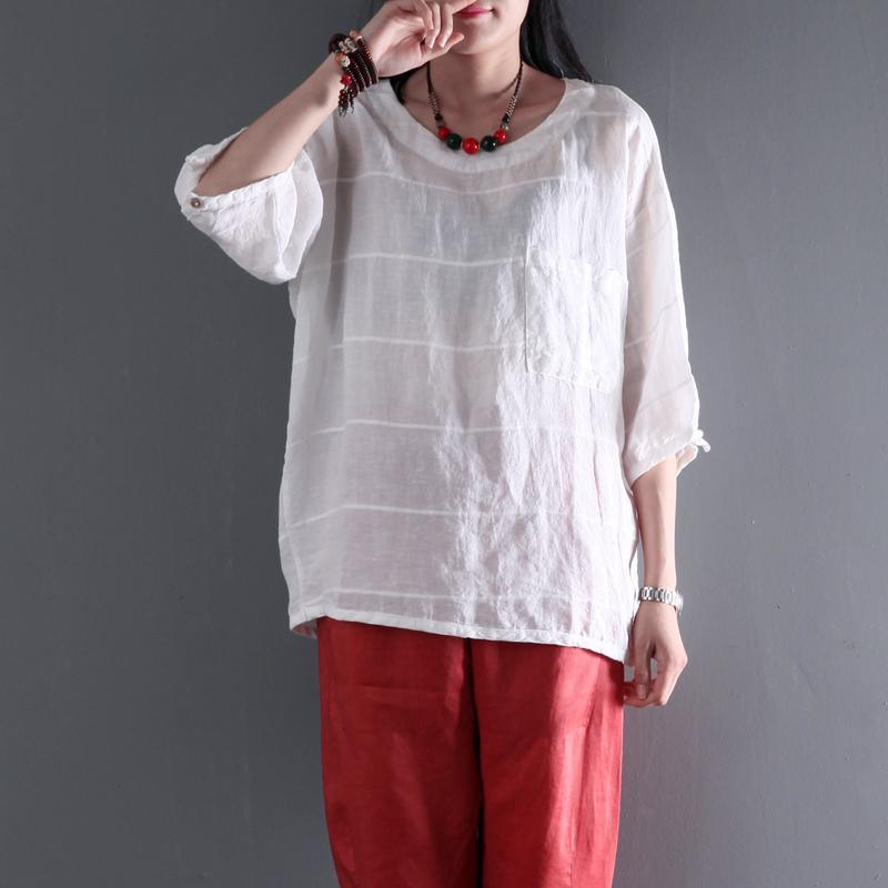 Pocket white linen women t shirt half sleeve cotton blouse summer top