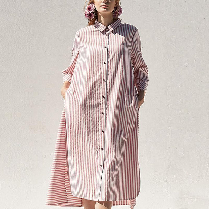 Polo Collar Pink Casual Plus Size Shirt Dress