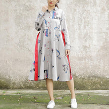 Load image into Gallery viewer, Polo Collar Long Sleeve Cartoon Printed Cotton Dress