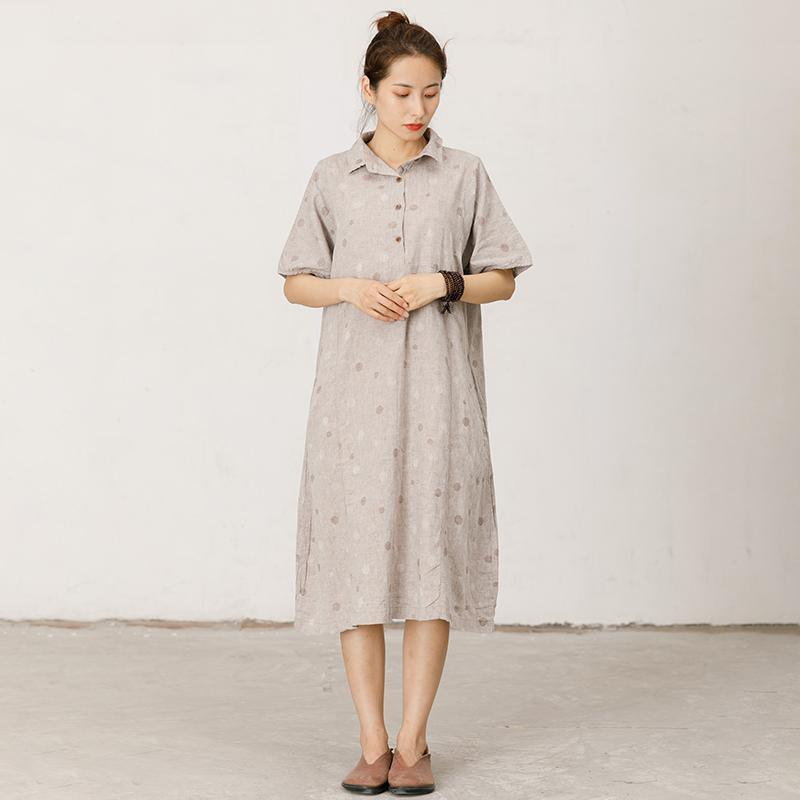 Polo Collar Small Dots Comfortable Midi Dress