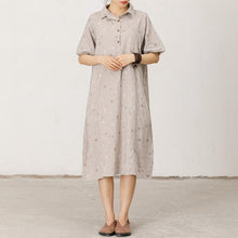 Load image into Gallery viewer, Polo Collar Small Dots Comfortable Midi Dress
