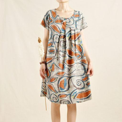 Print cotton sundress oversize linen shift dress